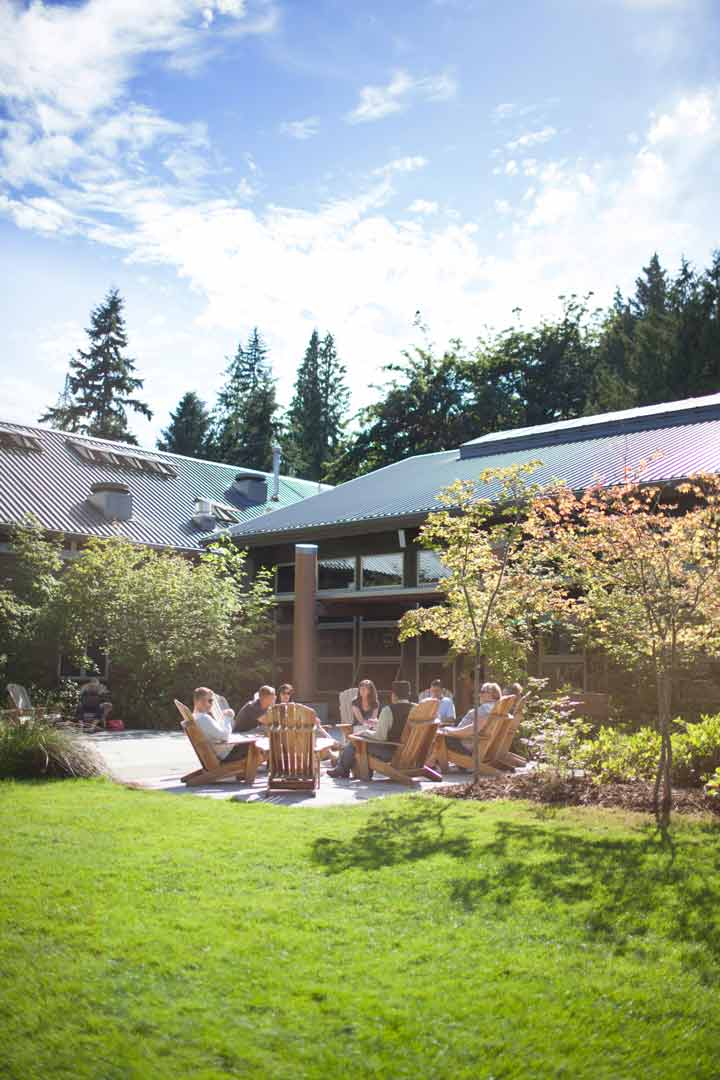 the back patio at IslandWood, an Outdoor Meeting venue