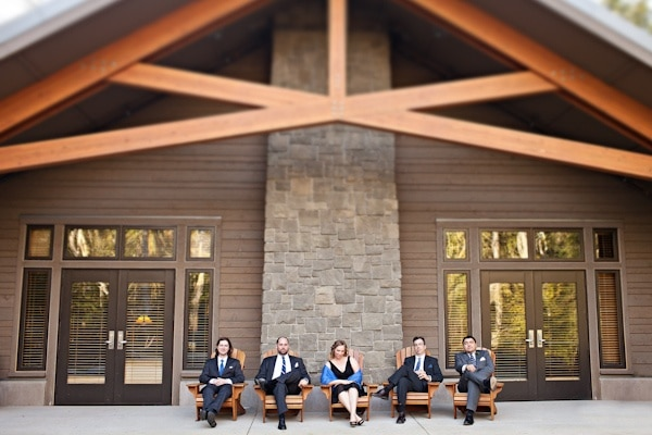 wedding guests outside a lodge at IslandWood, an Outdoor Wedding Venue