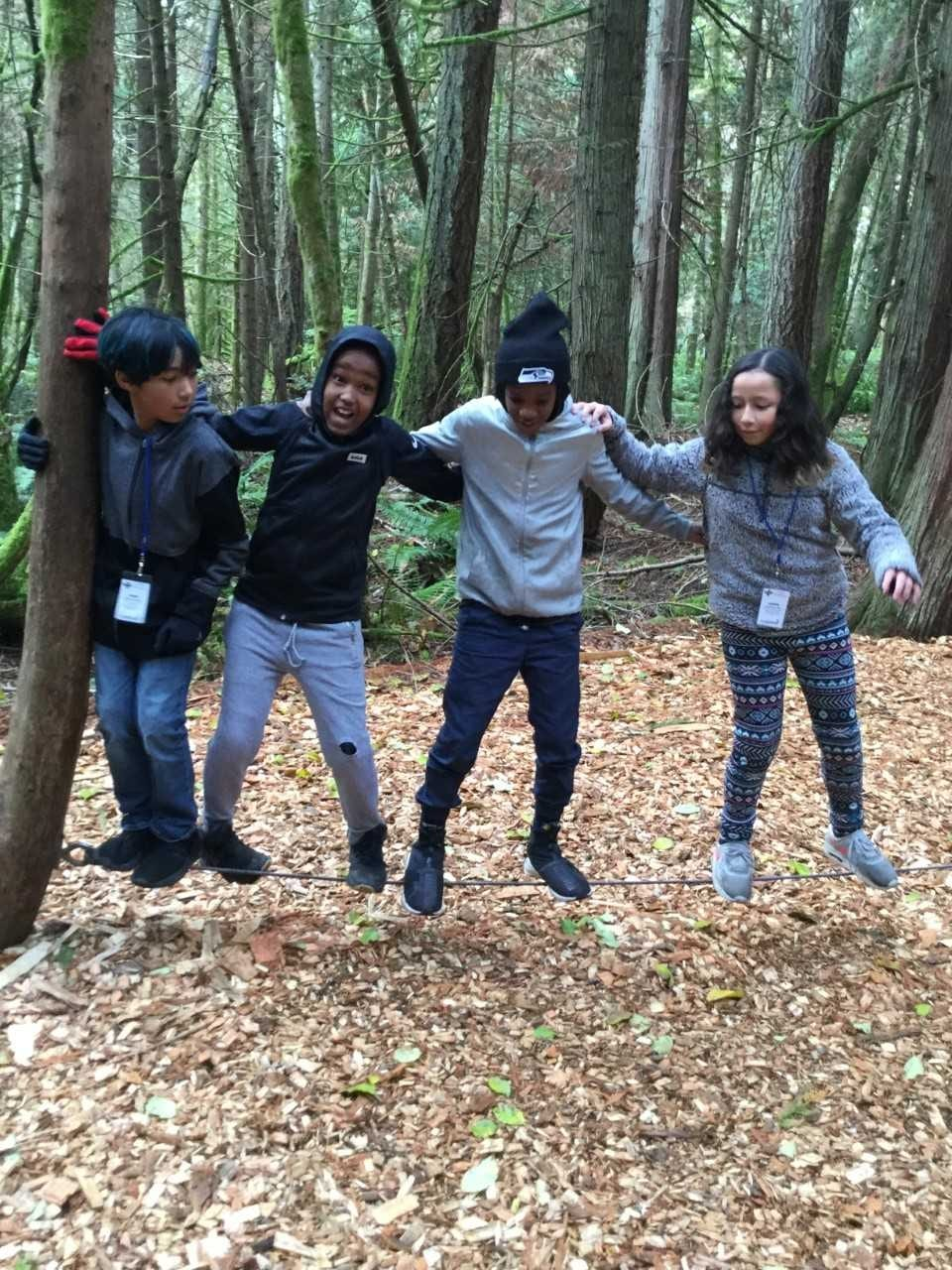 Students from Sartori Elementary School participate in the Team's Course at IslandWood.