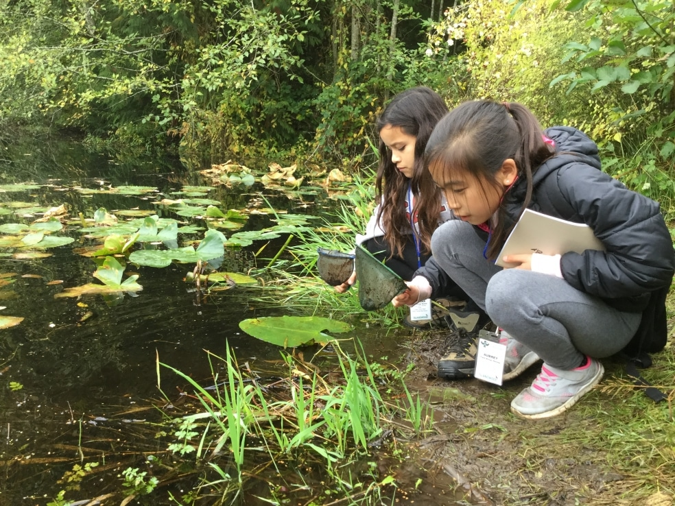 Two School Overnight Program students bend down to explore Mac's Pond.