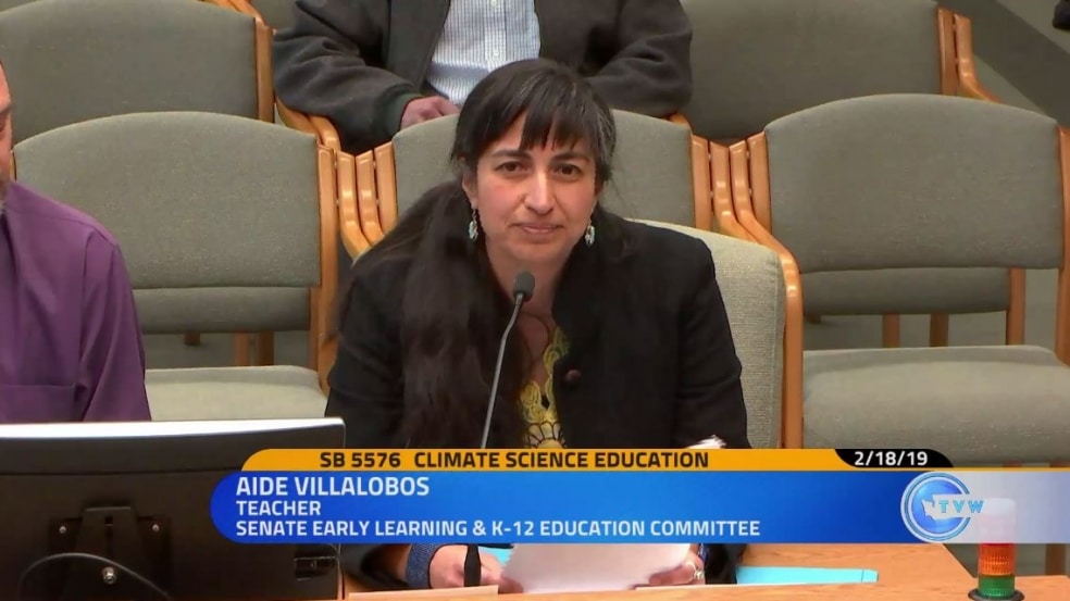 Shelton teacher Aidé Villalobos testifying in front of Washington state Senate's Early Learning and K-12 Education Committee.