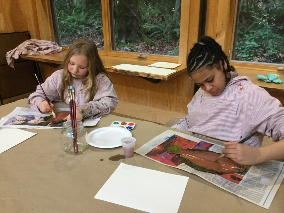 Students make gyotaku—fish prints.