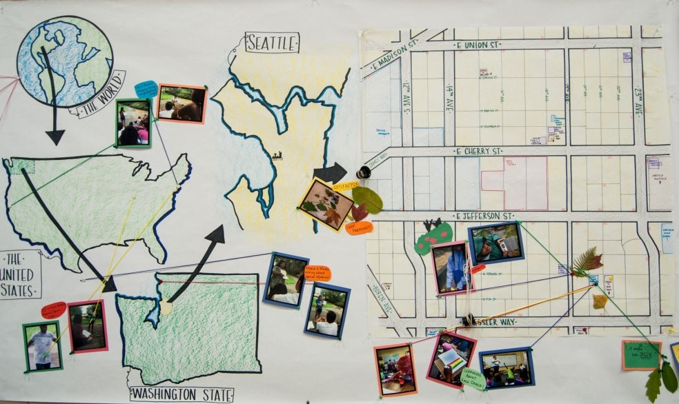 A hand-written graphic showing a map of the reach of the Graduate Program in Urban Environmental Education.