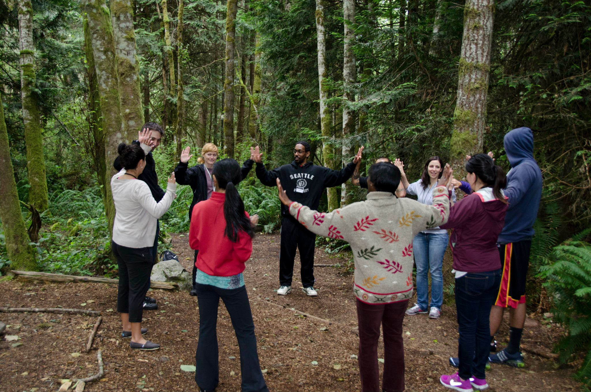 team building at IslandWood, an Outdoor Meeting venue