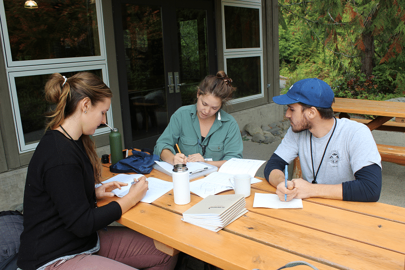 IslandWood Graduate Program students collaborate while sitting at a table outside.