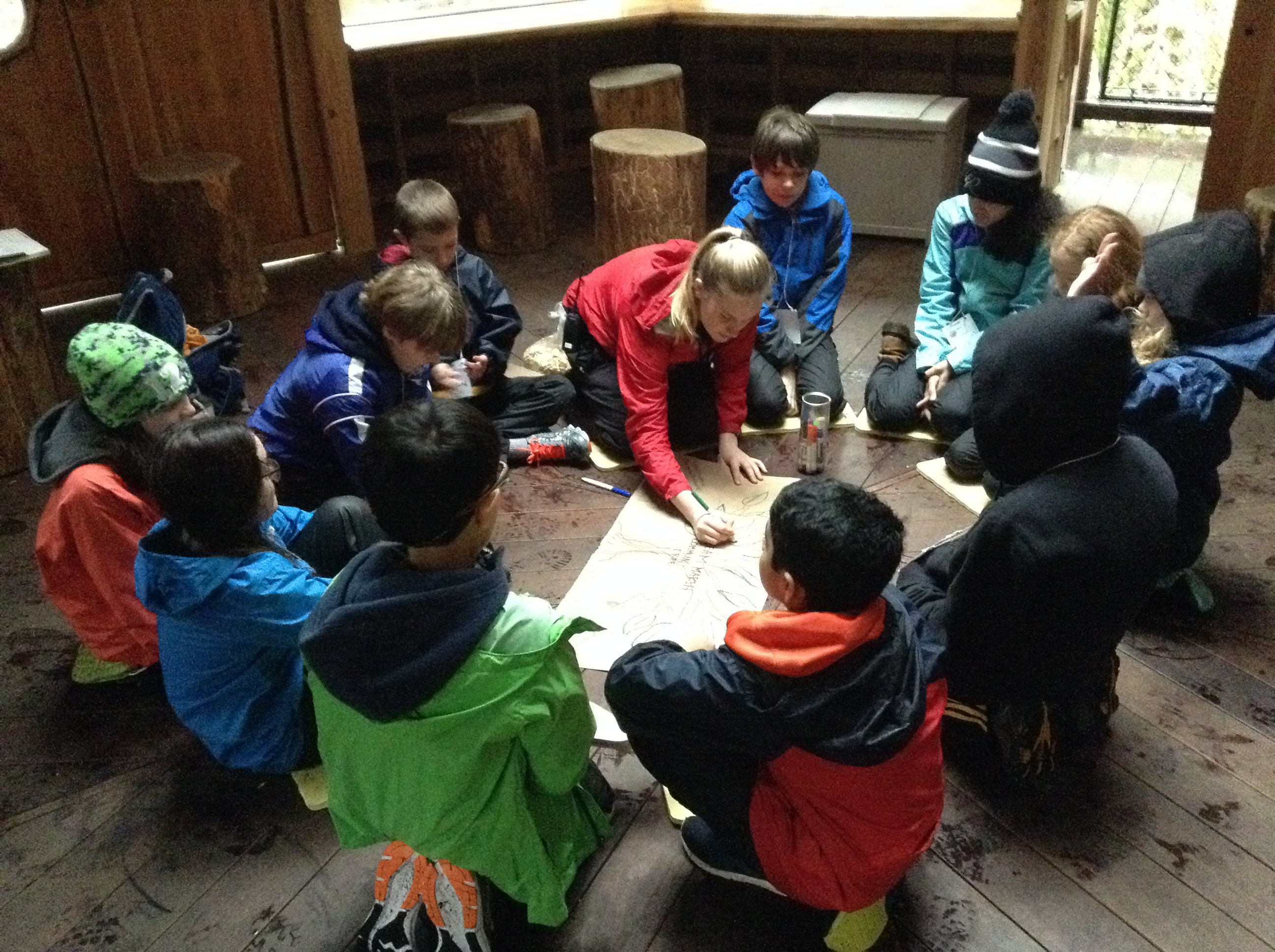 Hannah circles up with a group of School Overnight Program students during her time as an IslandWood graduate student.