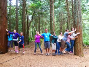 Members of the IslandWood Graduate Program (class of 2013) on the ropes course.