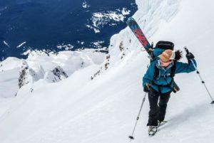 Liz skiing near the summit of Mt. Hood.