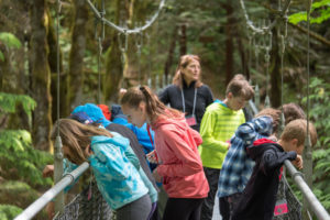 School Overnight Students during an investigation on the Suspension Bridge.