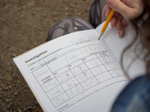 A School Overnight Student recording their observations from an investigation on the Suspension Bridge.