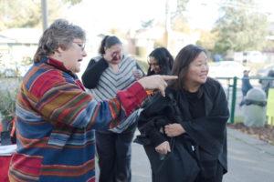 Teacher Kelli Elder (left) at the rain garden ribbon cutting ceremony. Image courtesy of Seattle Public Utilities.