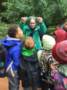 Kyleen Ellingsen with students in the School Overnight Program.