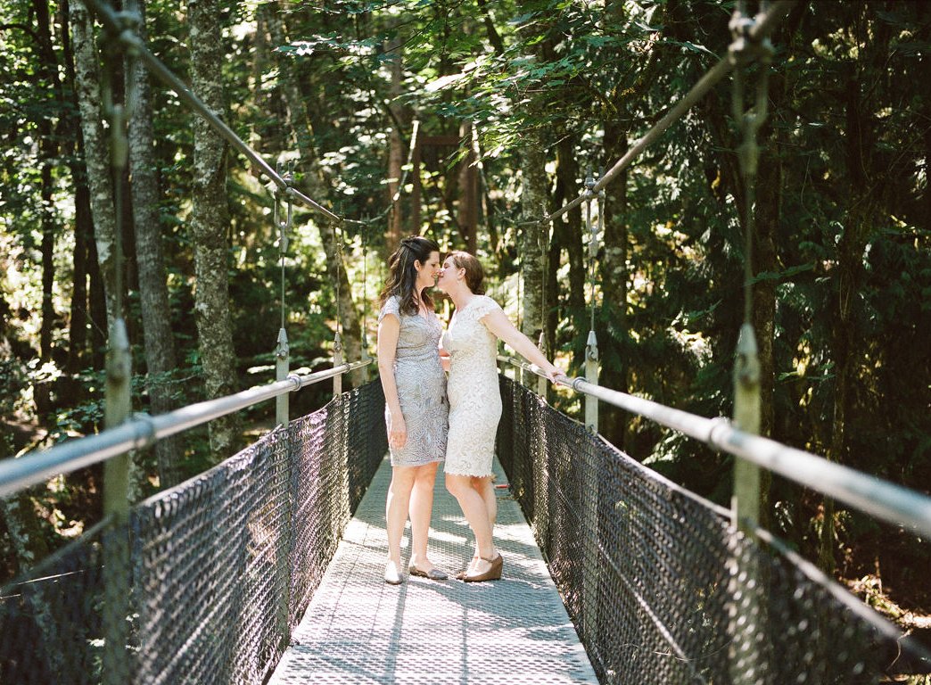 IslandWood Wedding Couple on Suspension Bridge