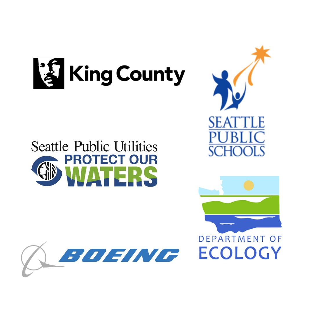 A graphic of logos from the partners who make Community Waters possible: King County, Seattle Public Schools, Seattle Public Utilities, WA State Department of Ecology, and Boeing.