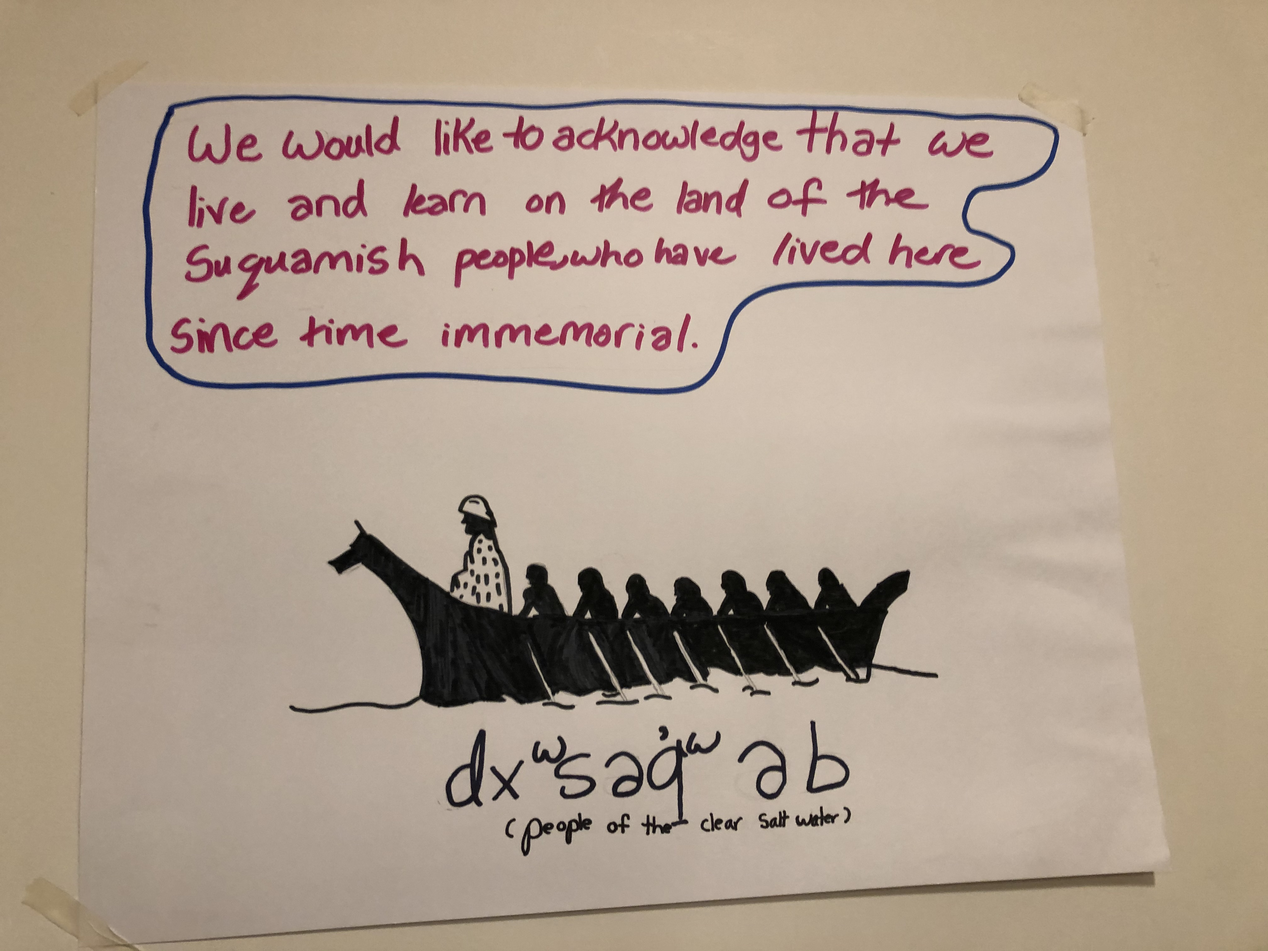 """[Image description: one of the land acknowledgments that the Hyla Middle School students created. The text reads: """"We would like to acknowledge that we live and learn on the land of the Suquamish people, who have lived here since time immemorial.""""]"""