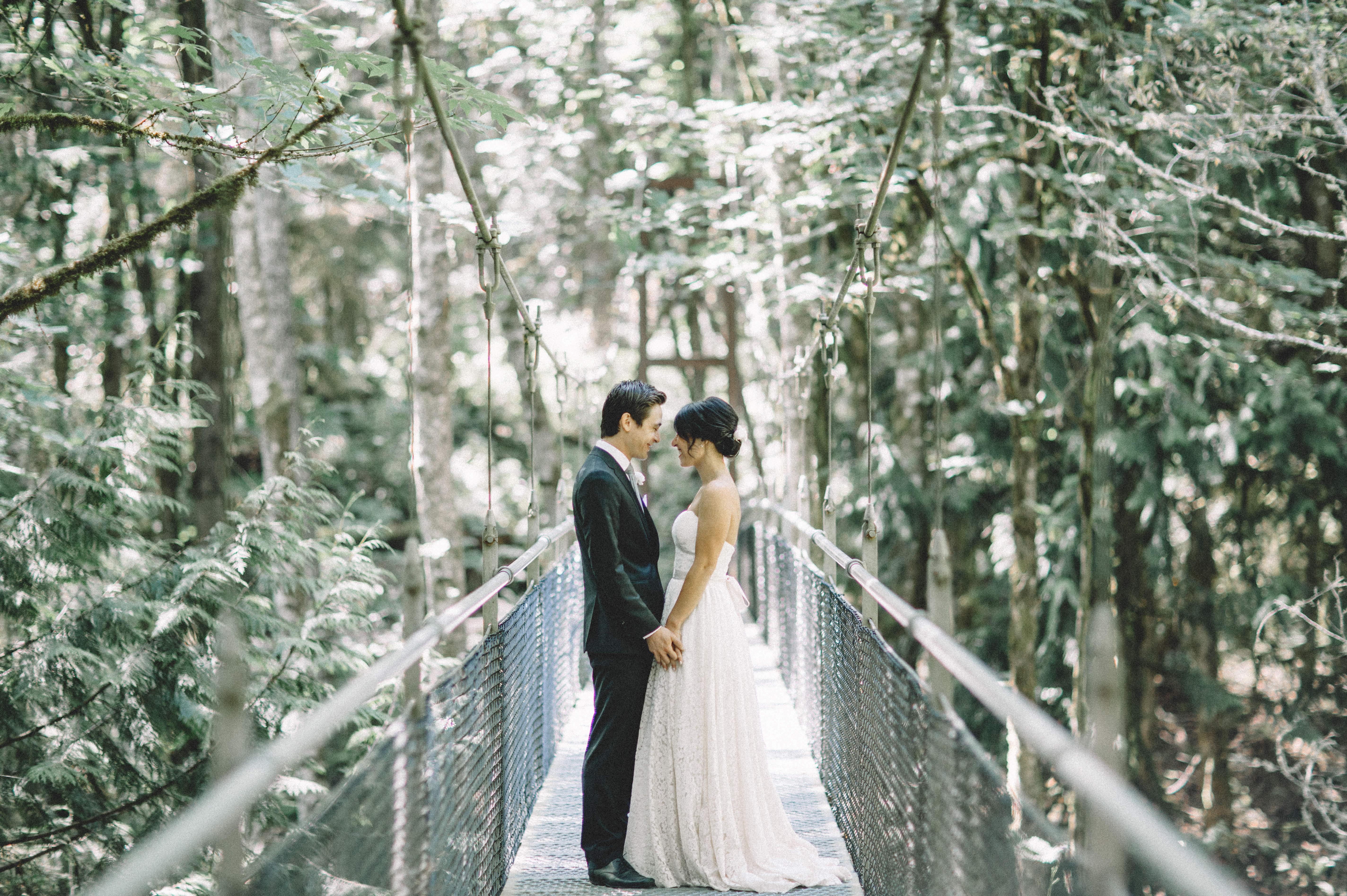 [Image description: a couple holds hands on the suspension bridge at IslandWood.]