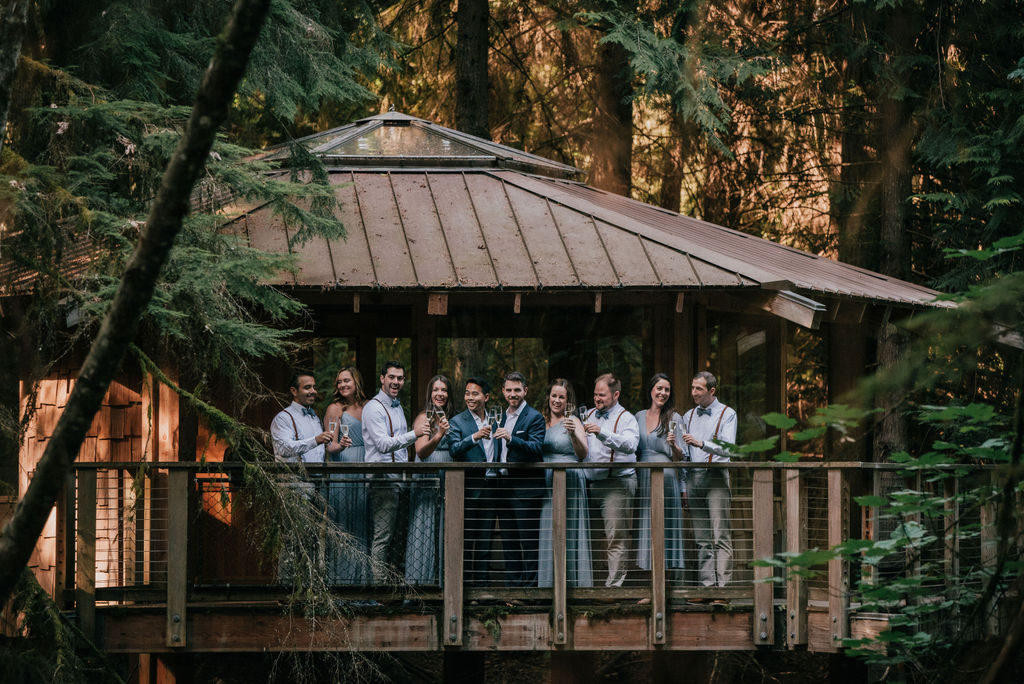 bridal party at a treehouse at IslandWood, an Outdoor Wedding Venue