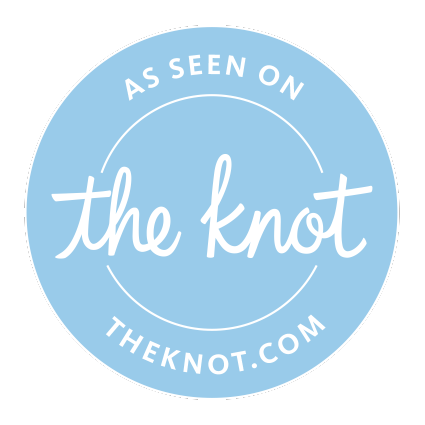 "[Image description: a blue round logo that reads ""As seen on The Knot,"" with ""theknot.com"" below it.]"