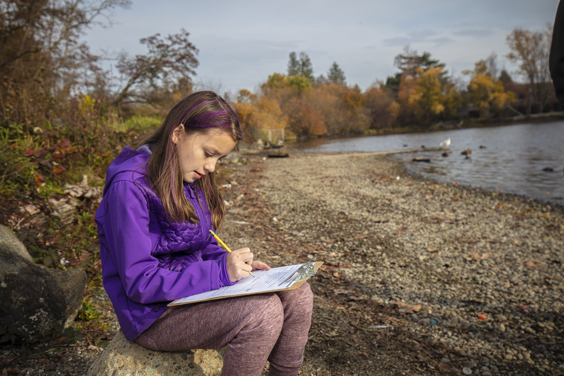 [image description: student making scientific observations while sitting next to a body of water.]
