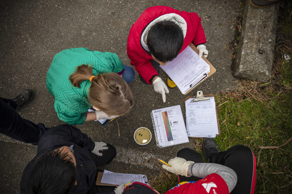 [image description: kids doing science experiment during IslandWood's Urban School Program.]